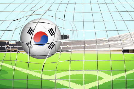 footwork: Illustration of a soccer ball with the South Korean flag Illustration