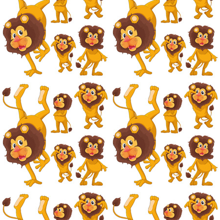 boastful: Illustration of the seamless design with lions on a white background Illustration