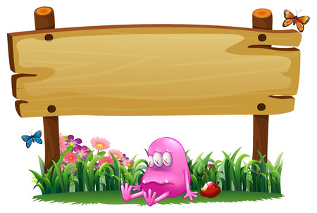Illustration of a poisoned pink monster under the empty wooden signboard on a white background