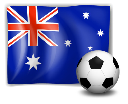 Illustration of a ball and the Australian flag on a white background