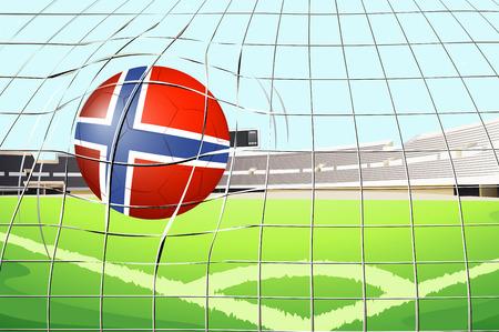 golpeando: Ilustraci�n de una bola que golpea una meta con la bandera de Noruega Vectores