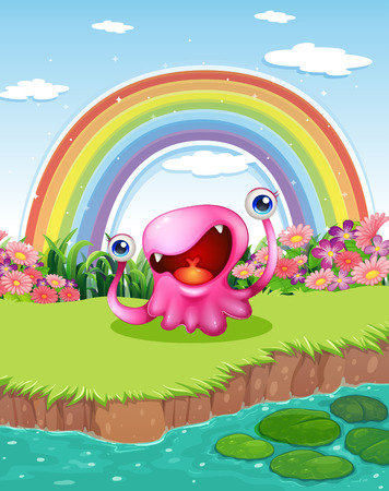 Illustration of a monster at the pond with a rainbow in the sky Illustration