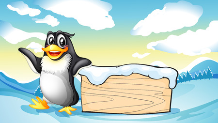 Illustration of a penguin beside the empty wooden board Vector