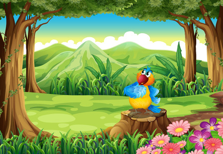 tree stump: Illustration of a colorful parrot above the stump at the jungle Illustration