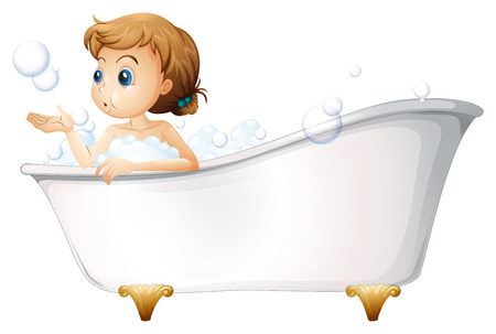 Illustration of a teenager taking a bath at the bathtub on a white background Vector