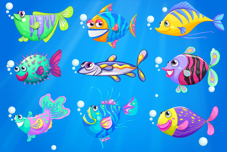 sanctuary: Illustration of the nine colorful fishes under the sea