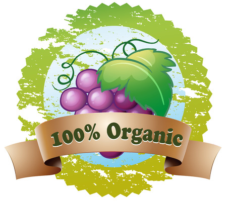 grapes in isolated: Illustration of an organic label with fresh grapes on a white background