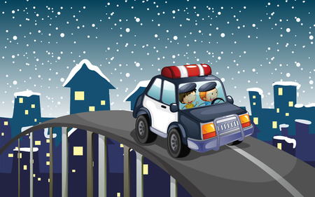 a patrol: Illustration of a patrol car travelling at the road