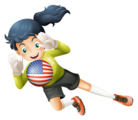 Illustration of a female soccer player with the United States flag on a white background Vector