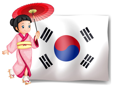 Illustration of a South Korean girl beside their flag on a white background Vector