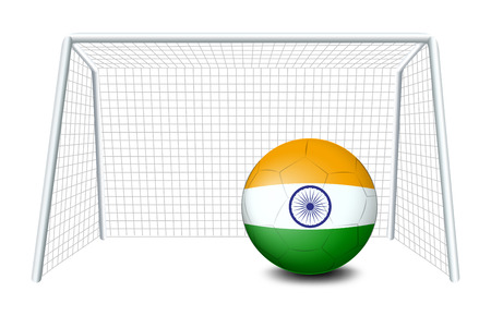 footwork: Illustration of a soccer ball with the flag of India on a white background