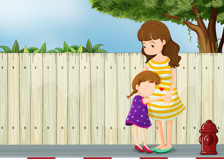 Illustration of a mother and her daughter near the fence at the road Vector