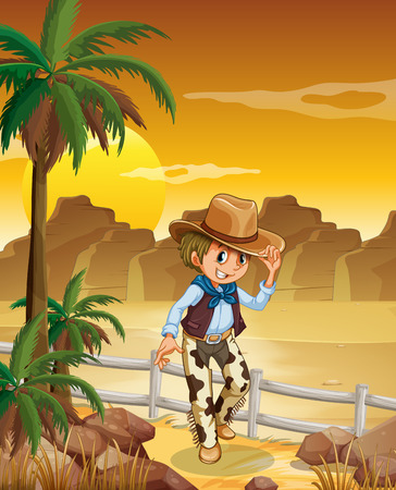 Illustration of a young cowboy at the desert Vector