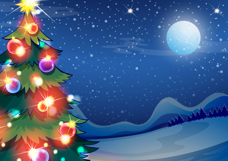 christmas ground: Illustration of a christmas tree with bright balls Illustration
