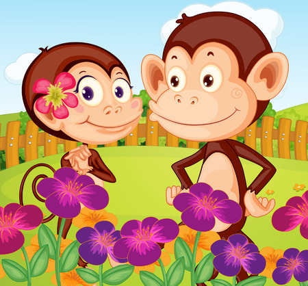 Illustration of the two monkeys at the garden in the hilltop Vector