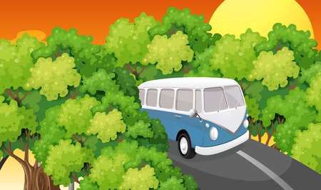 Illustration of a bus travelling Vector