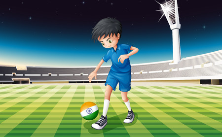 footwork: Illustration of a male soccer player with the flag of India