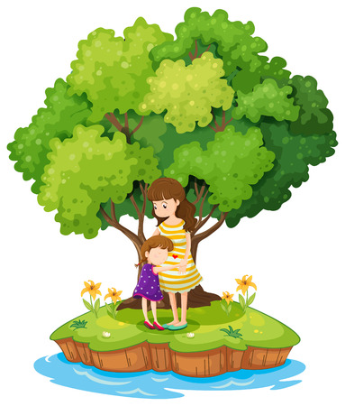 Illustration of an island with a mother and a daughter on a white background Vector