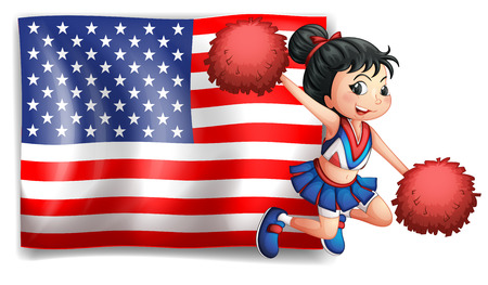 Illustration of a cheerer and the USA flag on a white background