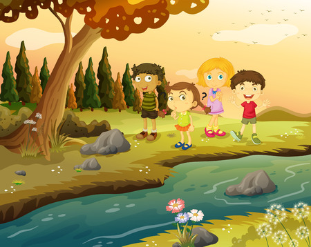 riverbank: Illustration of the kids at the riverbank