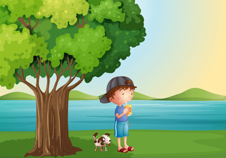 man drinking water: Illustration of a young boy and his pet under the tree