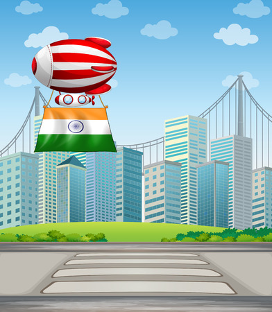india city: Illustration of an air balloon in the city with the flag of India