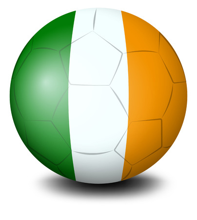 footwork: Illustration of a soccer ball with the flag of Ireland on a white background Illustration