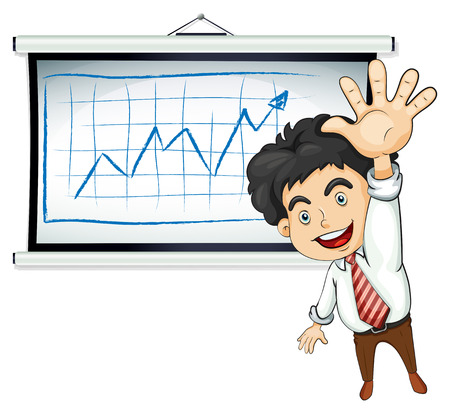 Illustration of a happy businessman in front of the bulletin board on a white background Vector