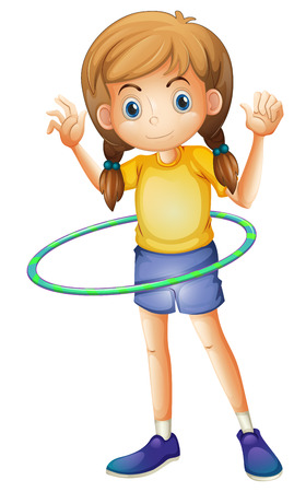 Illustration of a young girl playing with the hoop on a white background