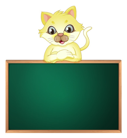 sides: Illustration of a yellow cat above the empty blackboard on a white background