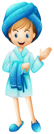 bathrobe: Illustration of a fresh girl with her bathrobe on a white background Illustration