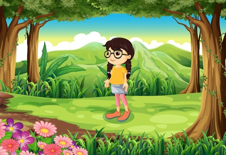 Illustration of a smart girl at the jungle