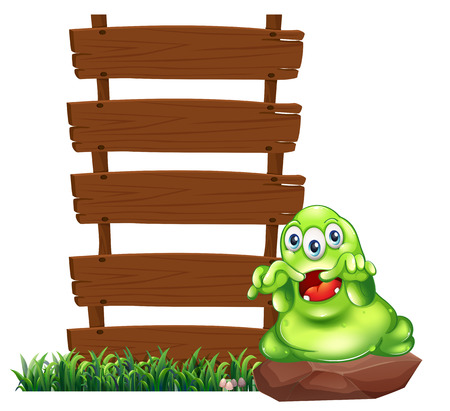 Illustration of a monster above the rock beside the empty wooden signboards on a white background Vector