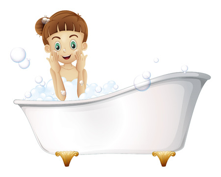 regimen: Illustration of a beautiful girl taking a bath on a white background