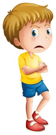 Ilustración de un muchacho joven enojado sobre un fondo blanco