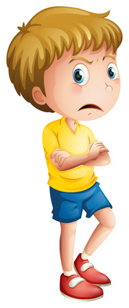 niño: Ilustración de un muchacho joven enojado sobre un fondo blanco