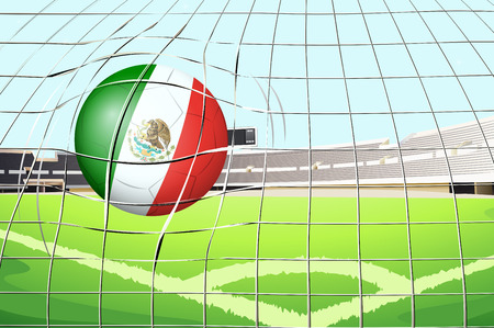 footwork: Illustration of a soccer ball with the flag of Mexico