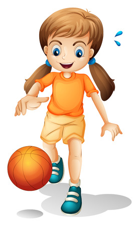 Illustration of a young girl playing basketball on a white background Vector