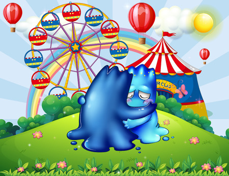 Illustration of the two monsters comforting each other at the hilltop with a carnival
