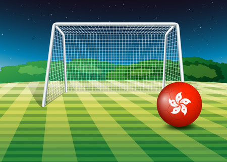 footwork: Illustration of a soccer ball at the field with the flag of Hongkong