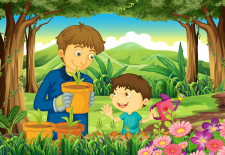 regar las plantas: Ilustración de un padre y un hijo en el bosque de regar las plantas Vectores
