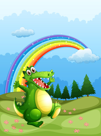 Illustration of a crocodile walking and a rainbow in the sky Illustration