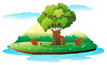 Illustration of an island with three playful beavers on a white background Vector