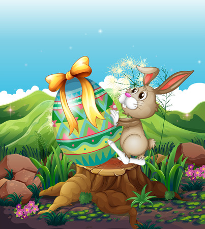 cartoon rabbit: Illustration of a bunny and a big Easter egg above the stump Illustration