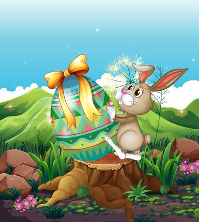 conejo caricatura: Ilustración de un conejo y un gran huevo de Pascua por encima del tocón