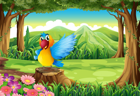 Illustration of a parrot at the jungle standing above the stump Vector