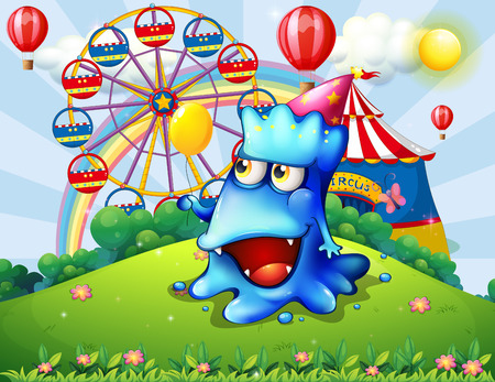 Illustration of a happy blue monster at the hilltop with a carnival Vector