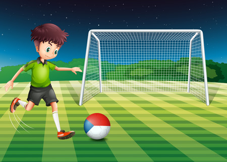 football net: Illustration of a young man kicking the ball with the flag of Czech Republic