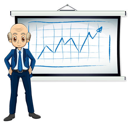 old business man: Illustration of a bald old businessman in front of the whiteboard on a white background