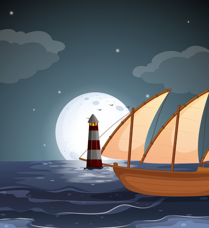 Illustration of a sea with a lighthouse and a boat Vector